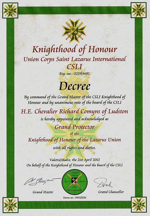 Clsi joins saint lazarus union corps san lazare international joins the united grand priories april 2012 yelopaper Images