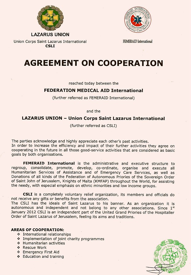 Agreement of Friendschip KMFAP A