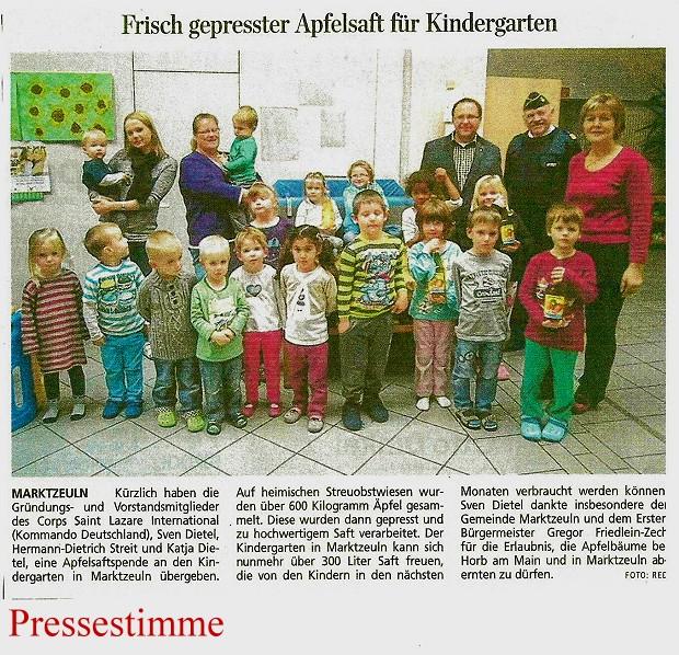 Apfelsaftspende 2014 CSLD - Pressestimme