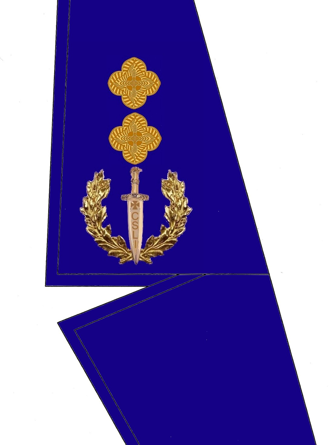 19 Kragen Rangabzeichen General Major HG Blau