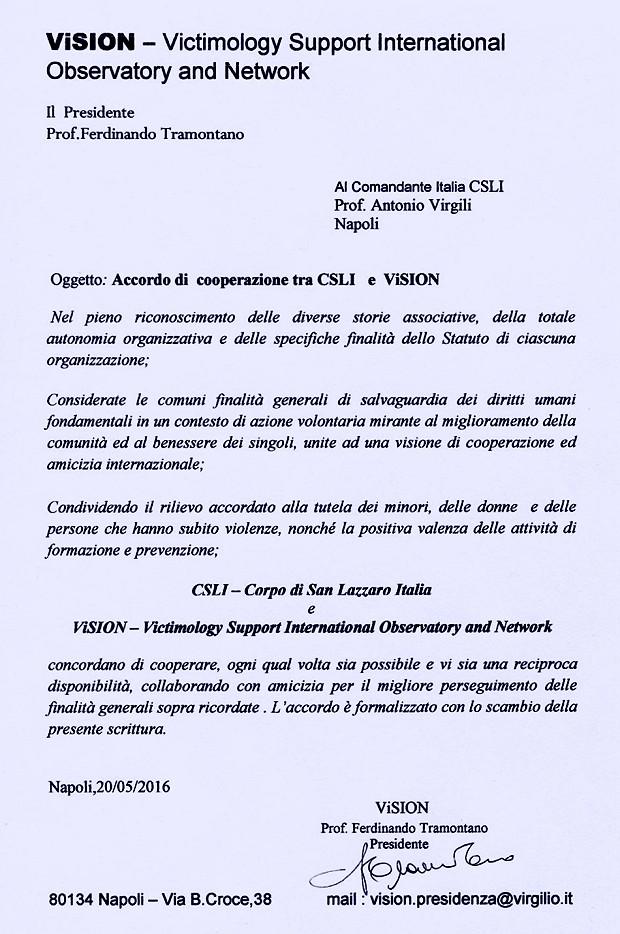 Accordo VISION CSLI Italia-1