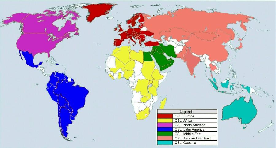 CSLI Karte der Welt August 2019 nach Regionen 900