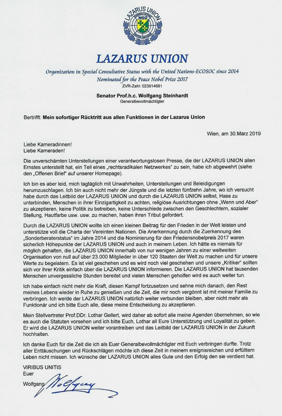 Rücktritt WST