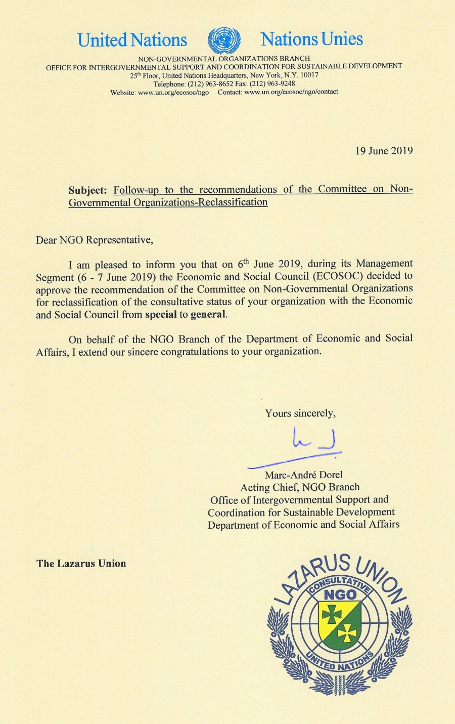 UN-General Status