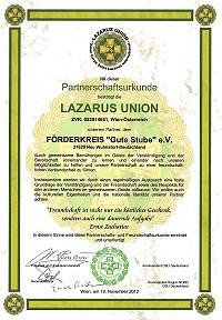 """(Deutsch) Partnerschaft der Lazarus Union mit dem Förderkreis """"Gute Stube"""" e.V. in Neu Wulmsdorf/Deutschland"""