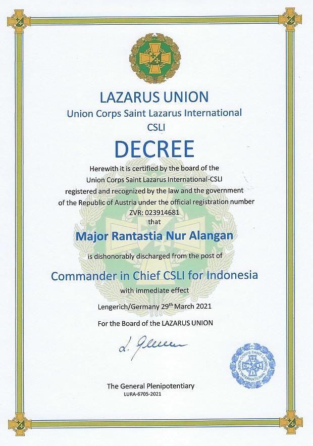 Alangan Nur Entlassung aus der LU als CIC