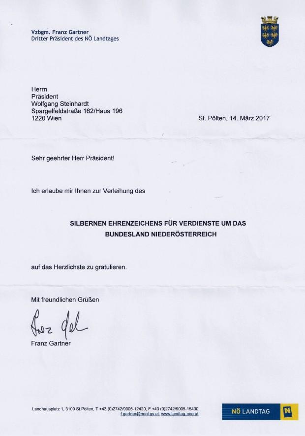 Glückwunsch SEZ NÖ WST von Franz Gartner