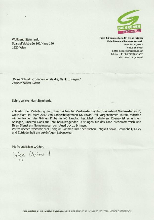 Glückwunsch SEZ NÖ WST von KLOF Dr. Helga Krismer