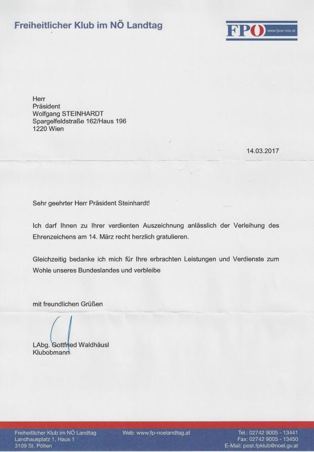 Glückwunsch SEZ NÖ WST von Klubobmann Labg. Gottfried Waldhäusl