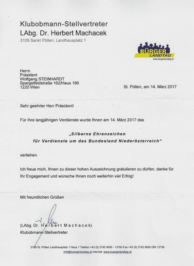 Glückwunsch SEZ NÖ WST von LAbg. Dr. Machacek