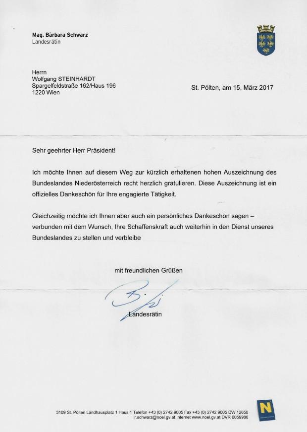 Glückwunsch SEZ NÖ WST von LR Mag. Barbara Schwarz