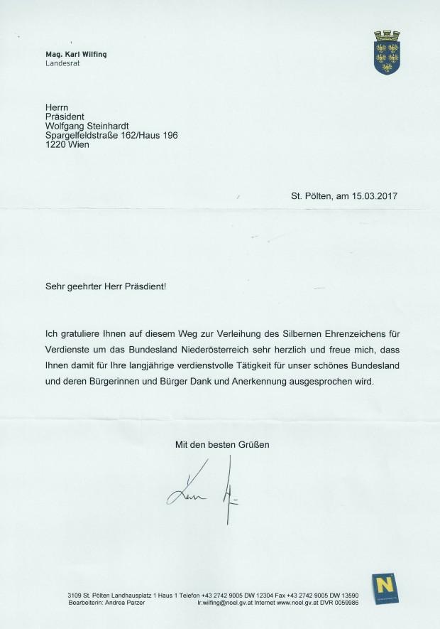 Glückwunsch SEZ NÖ WST von LR Mag. Karl Wilfing