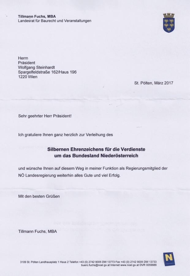 Glückwunsch SEZ NÖ WST von LR Tillmann Fuchs