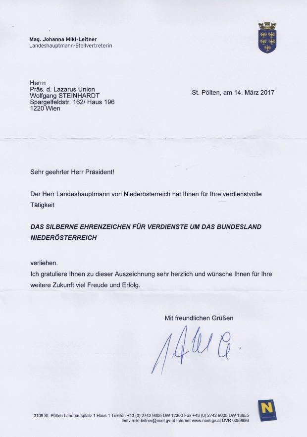 Glückwunsch SEZ NÖ WST von Mikl-Leitner
