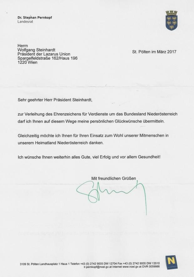 Glückwunsch SEZ NÖ WST von dr.Stephan Pernkopf