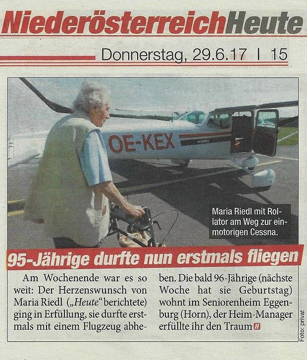 Flug Dame 94 Jahre