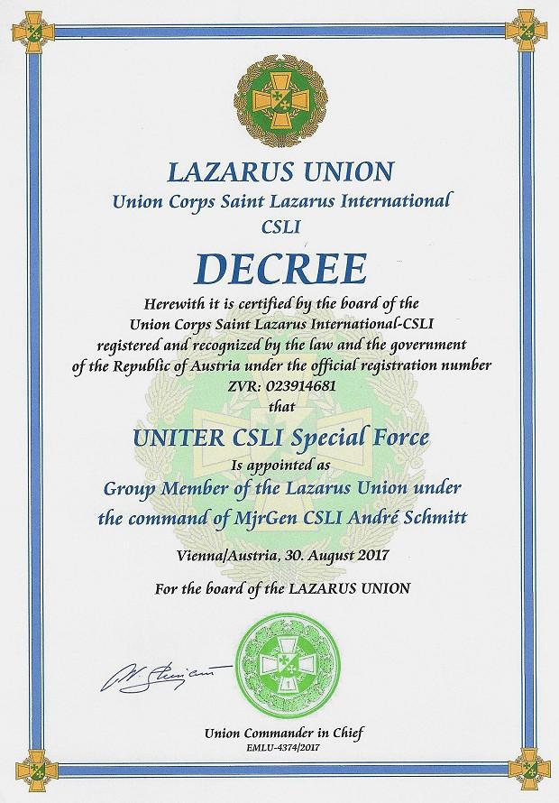 Urkunde UNITER