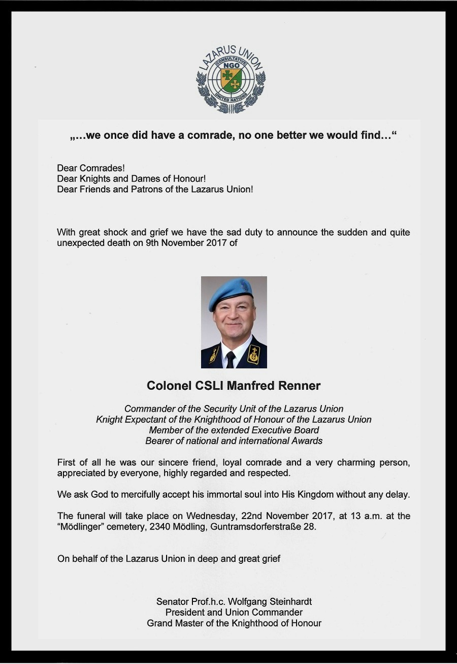 Funeral of Colonel CSLI Manfred Renner – LAZARUS UNION
