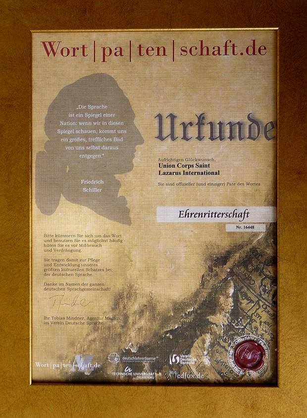 Urkunde Sprachpatenschaft - Ehrenritter 620