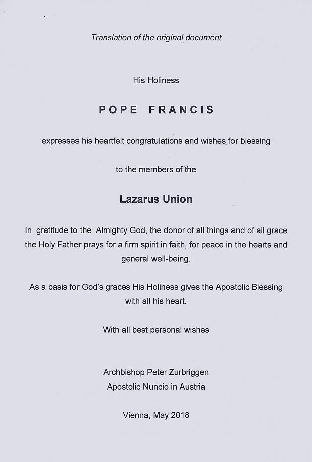 Segen von Papst Franciskus Übersetzung eng