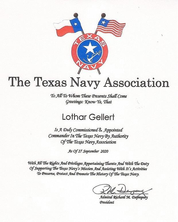 Urkunde Lothar Texas Navy